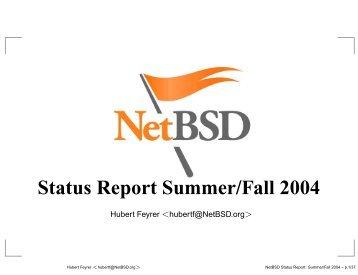 Status Report Summer/Fall 2004 - Dr. Hubert Feyrer