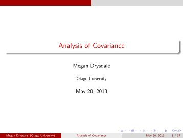 analysis of covariance What is ancova ancova is a blend of analysis of variance (anova) and regression it is similar to factorial anova, in that it can tell you what additional information you can get by considering one independent variable (factor) at a time, without the influence of the others it can be used used as: an extension of multiple regression to compare multiple regression lines.