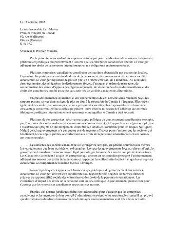 Lettre adressée au premier ministre Martin - MiningWatch Canada
