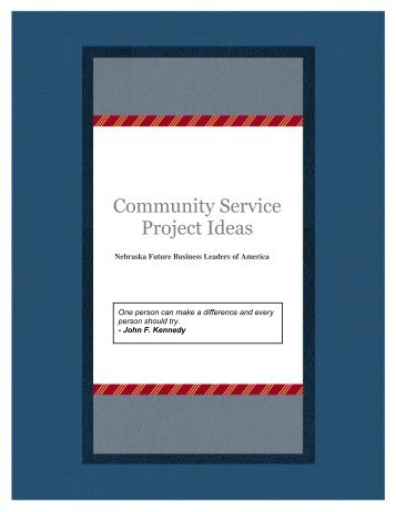 Community Service Project Ideas - Nebraska FBLA
