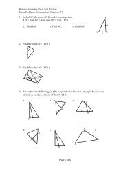 Study Guide for Final Exam Honors Geometry 1  Explain what is
