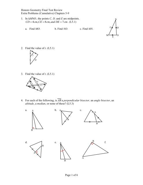 Honors Geometry Final Test Review Extra Problems (Cumulative