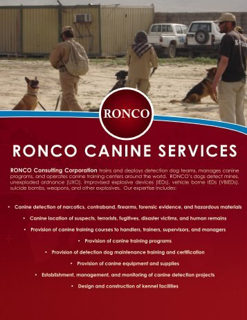 RONCO CANINE SERVICES - RONCO Consulting Corporation