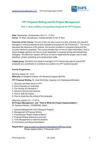 FP7 Proposal Writing and EU Project Management