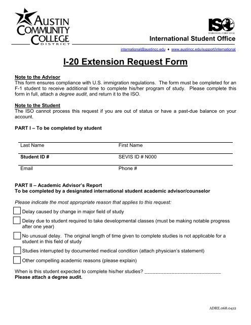 I 20 Extension Request Form