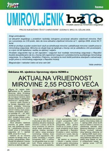 'Umirovljenik', broj 33/2008. - Hrvatski zavod za mirovinsko osiguranje