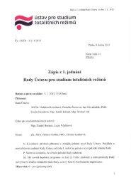 Zápis z 1. jednání - Ústav pro studium totalitních režimů