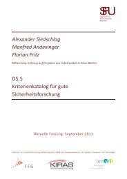 Kriterienkatalog guter Sicherheitsforschung - European Security ...