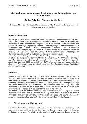 Überwachungsmessungen zur Bestimmung der Deformationen von ...