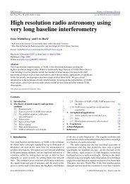 High resolution radio astronomy using very long baseline ...