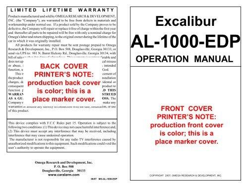 Excalibur AL-1000-EDP OPERATION MANUAL FRONT ... - car alarmYumpu