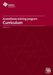 Anaesthesia training program curriculum - Australian and New ...