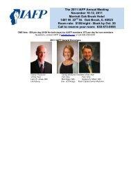 The 2011 IAFP Annual Meeting November 10-12 - Illinois Academy ...