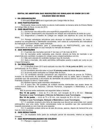 EDITAL DE ABERTURA DAS INSCRIÇÕES DO SIMULADO DO ...