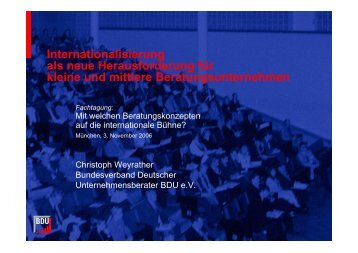 Internationalisierung als neue Herausforderung für kleine und ...
