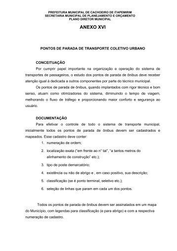 Texto do Anexo XVI - Prefeitura de Cachoeiro de Itapemirim
