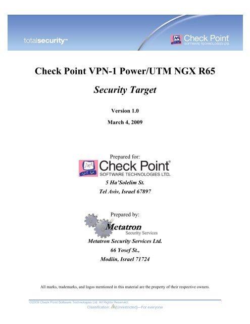Check Point VPN-1 Power/UTM NGX R65 - Common Criteria