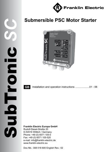 Subtronic Manual Engl Pdf Franklin Electric Europa