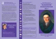 Jahresprogramm 2011 - Klassische Homöopathie Ansbach