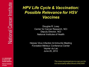 HPV Life Cycle & Vaccination: Possible ... - GLOBE Network