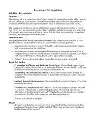 Receptionist Job Description Job Title - Receptionist Summary The ...