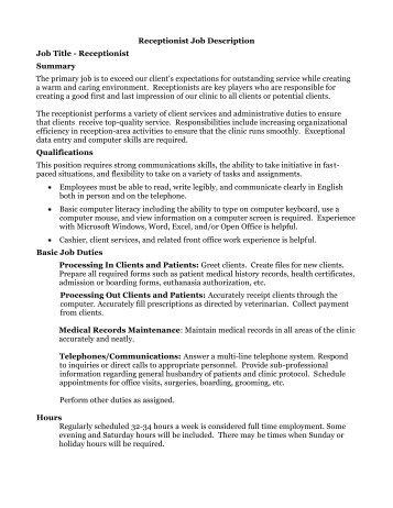 Job Description Position Title: Office Receptionist /Program ...