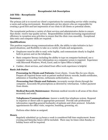 Medical Receptionist Job Description Medical Receptionist Job