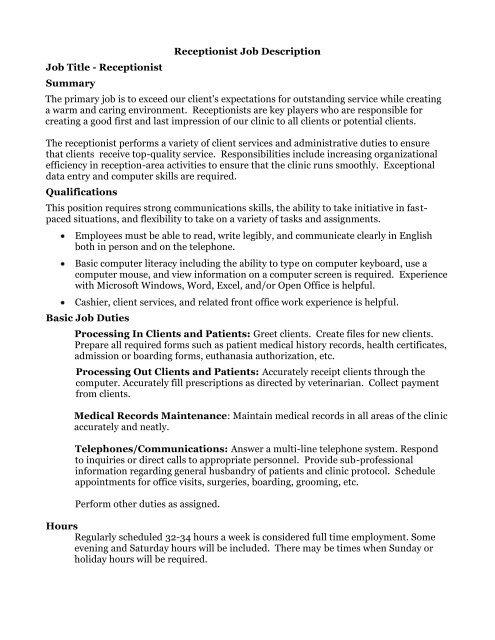 Receptionist Job Description Job Title Receptionist