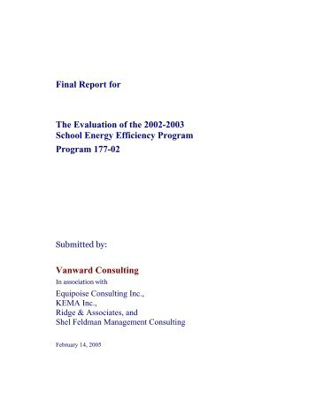 Final Report for The Evaluation of the 2002-2003 School Energy ...