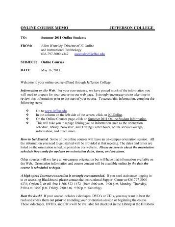 INTEROFFICE MEMORANDUM - Jefferson College
