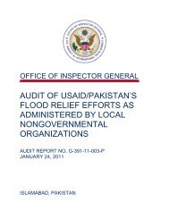 Audit of USAID/Pakistan's Flood Relief Efforts As Administered by ...