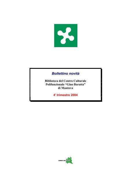 16110bfa20 Bollettino novità - Biblioteca Mediateca Gino Baratta