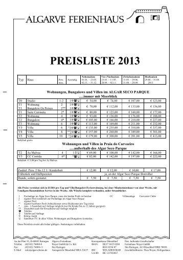 Preise 2013 - Algarve Ferienhaus Weyer