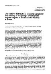 Life history, distribution, seasonal variability Sagitta elegans in the ...
