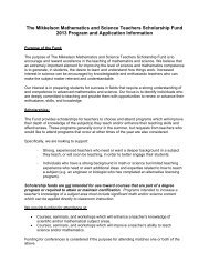 The Mikkelson Mathematics and Science Teachers Scholarship ...