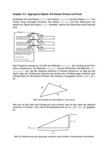 Aufgabe 10.1: Aggregierte Objekte. Die Klassen Dreieck und Punkt ...