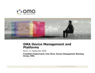 OMA Device Management and Platforms - Open Mobile Alliance