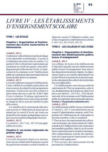 LIVRE IV : LES ÉTABLISSEMENTS D'ENSEIGNEMENT SCOLAIRE