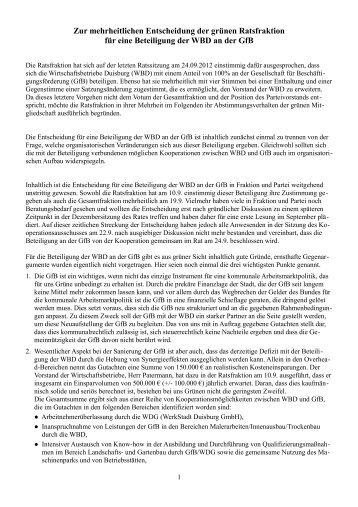 Zur mehrheitlichen Entscheidung der grünen Ratsfraktion für eine ...