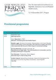 Provisional programme - Club Health 2011 Prague