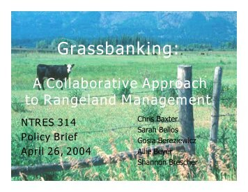 Grassbanking: - Department of Natural Resources
