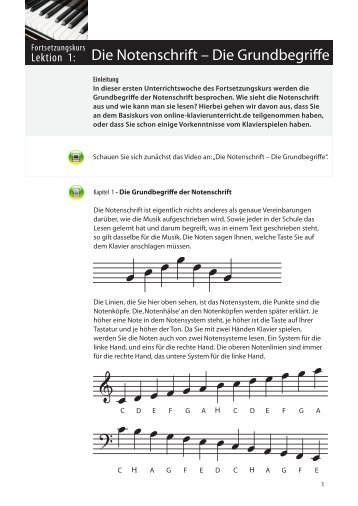 Die Notenschrift – Die Grundbegriffe - Online-Klavierunterricht.de