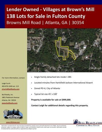 Villages at Brown's Mill 138 Lots for Sale in Fulton County - Bull Realty