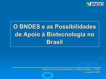 O BNDES e as Possibilidades de Apoio à Biotecnologia no Brasil