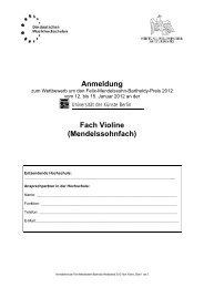 Anmeldeformular Violine - Die deutschen Musikhochschulen