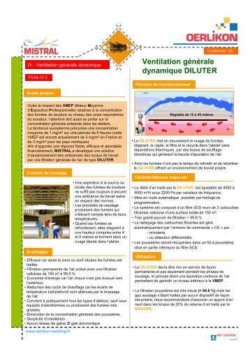 IV-2 Ventilation générale dynamique DILUTER MISTRAL - Oerlikon