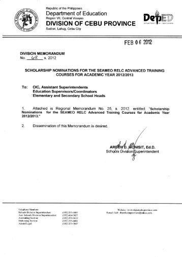 Memo No. 68, S. 2012 - DepEd Cebu Province