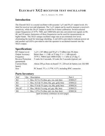 Mini module data sheet elecraft elecraft xg2 receiver test oscillator freerunsca Images