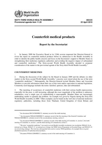 Counterfeit Medical Products, Report by the Secretariat