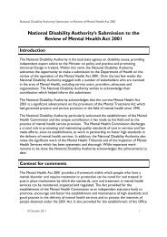 NDA Submission on the Review of the Mental Health Act 2001